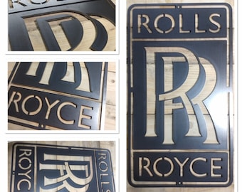 159 Vintage Garage Old Small Metal Tin Sign Classic Car Badge Rolls Royce