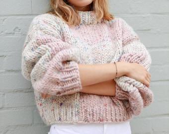 Berkeley Sweater (White) - Super Chunky, Oversized Sleeves, Cropped Handknit/Handmade in 100% Wool