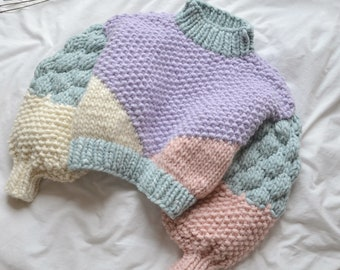 Super Chunky, Oversized Sleeves, Cropped Handknit in 100% Wool, Pastel Lilac Blue Pink White Handmade