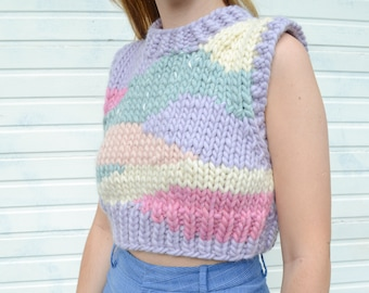 Hand Knit Pastel Pink Blue Lilac White Intarsia Vest, Chunky Wool Top, 100% Wool Handmade