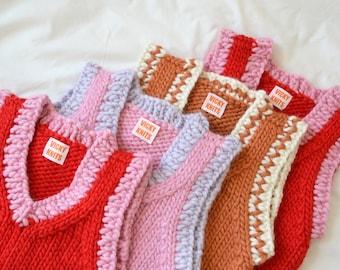 Vicky's Vest Handmade 100% Chunky Wool Knit