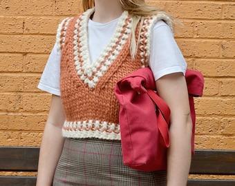 College Vest Cropped Chunky Handmade Knitwear 100% Wool Orange White