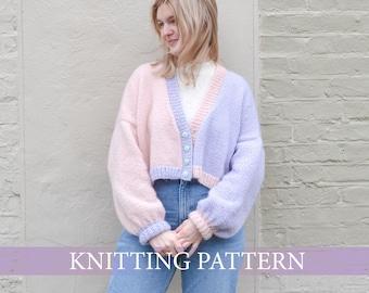 Night and Day Cropped 80s Style Cardigan Knitting Pattern (ENGLISH)