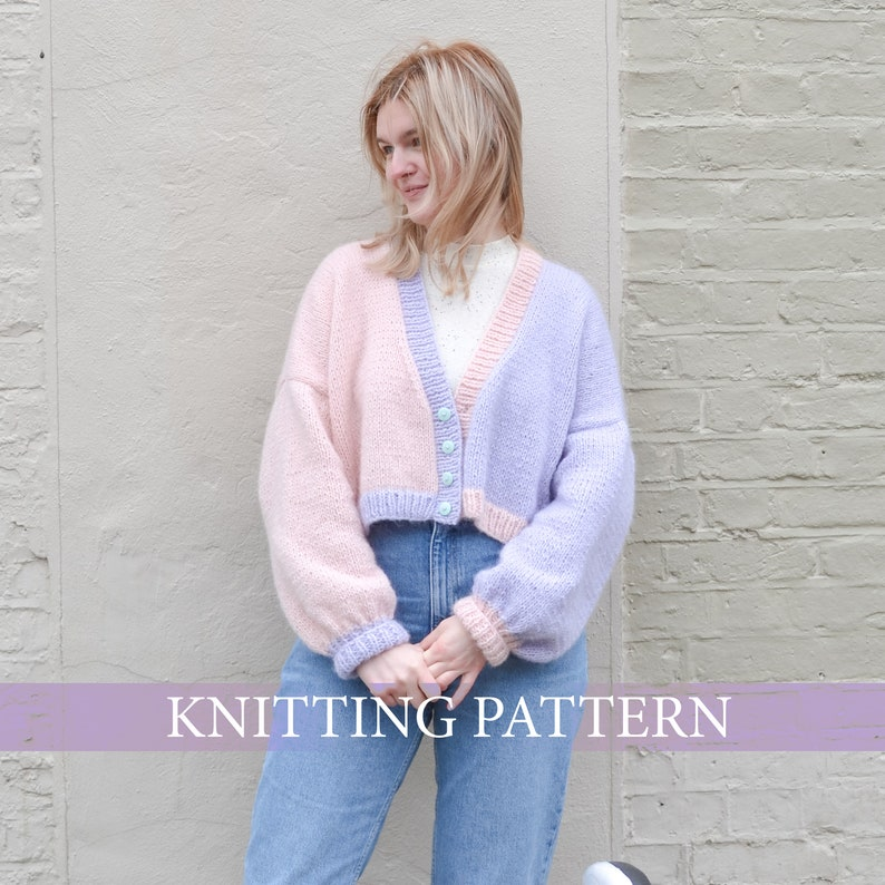Night and Day Cropped 80s Style Cardigan Knitting Pattern image 1