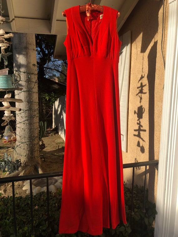 Vintage Donald Brooks cherry red gown