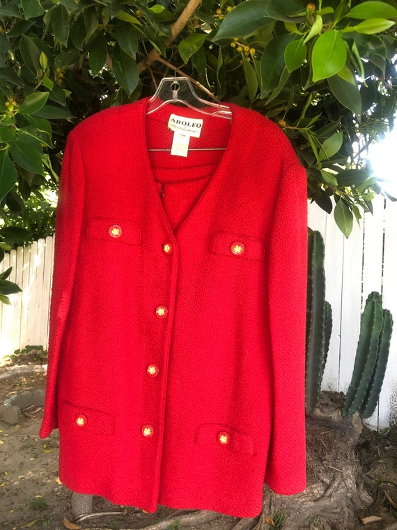 Vintage Adolfo Cherry Red Wool Skirt Suit