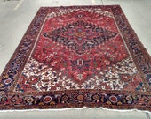 Antique 9X11 Heriz Area Rug - Circa 1920 - Pale Red Hand-Knotted Wool Carpet