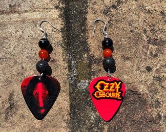 Guitar Pick Plectrum Rhinestone Pink Goth Crucifix Cross Ozzy Osbourne Necklace Jewellery Black Sabbath Cross 80s Heavy Metal Costume