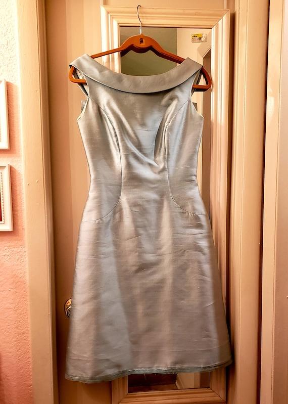1960 Will Steinman blue green dress, 28 waist, boa