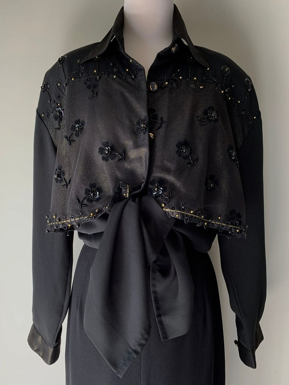 VINTAGE Statement 90s Designer Style Black and Go… - image 3