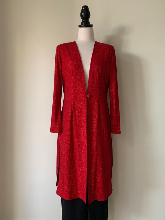 VINTAGE Chanel-Style 90s Red Sparkly Long Jacket - image 1