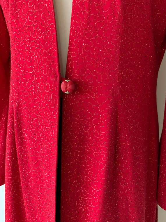 VINTAGE Chanel-Style 90s Red Sparkly Long Jacket - image 4