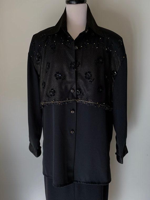 VINTAGE Statement 90s Designer Style Black and Go… - image 8