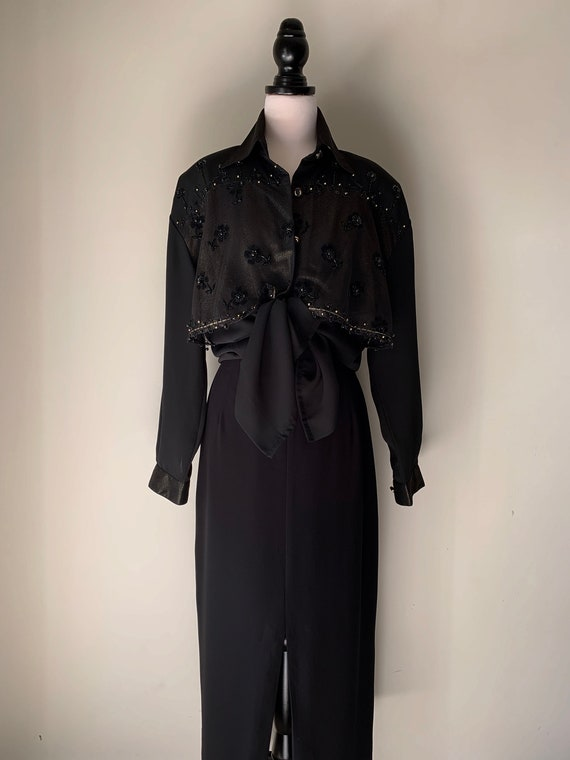 VINTAGE Statement 90s Designer Style Black and Go… - image 2