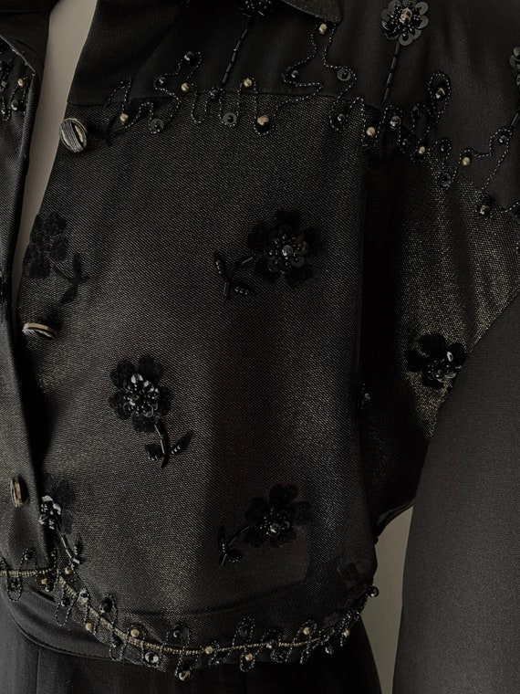 VINTAGE Statement 90s Designer Style Black and Go… - image 7