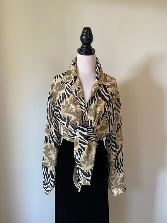 VINTAGE Silky Satin Zebra Animal Print Floral Whit