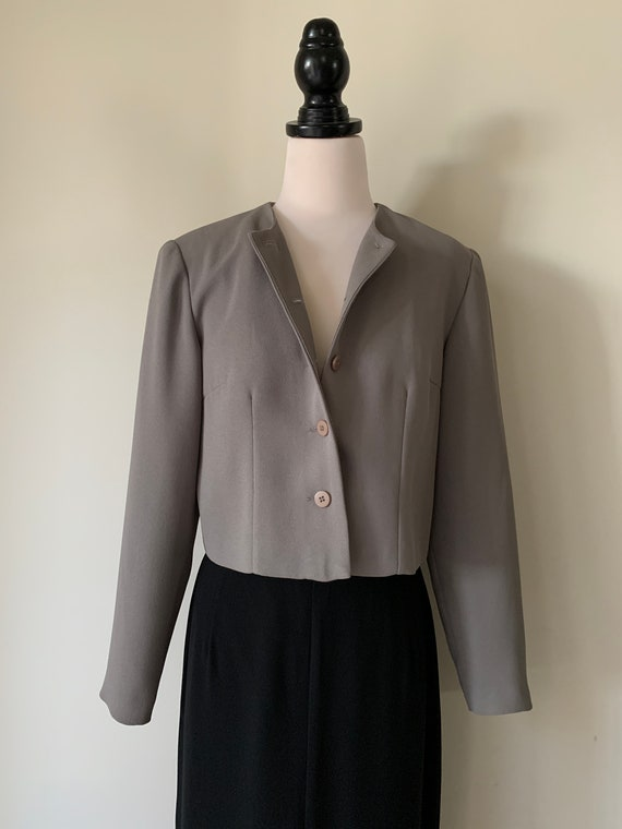 VINTAGE Chanel-Style 90s Charcoal Grey Cropped Jac