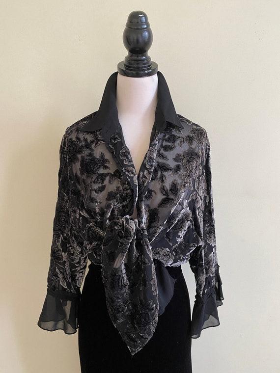 VINTAGE 80s Sheer Black Grey Velvet Floral Blouse