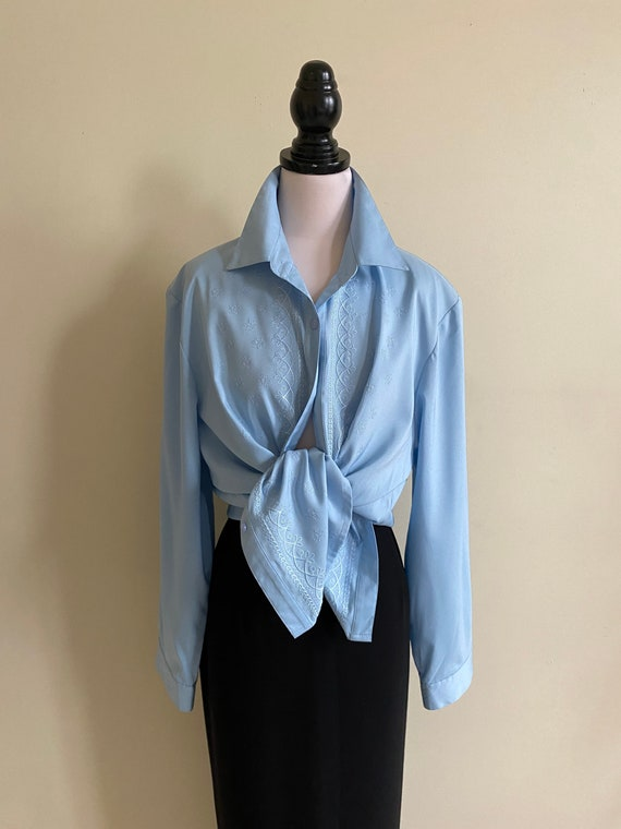 VINTAGE Blue Long Sleeve Embroidered Shirt with Pa