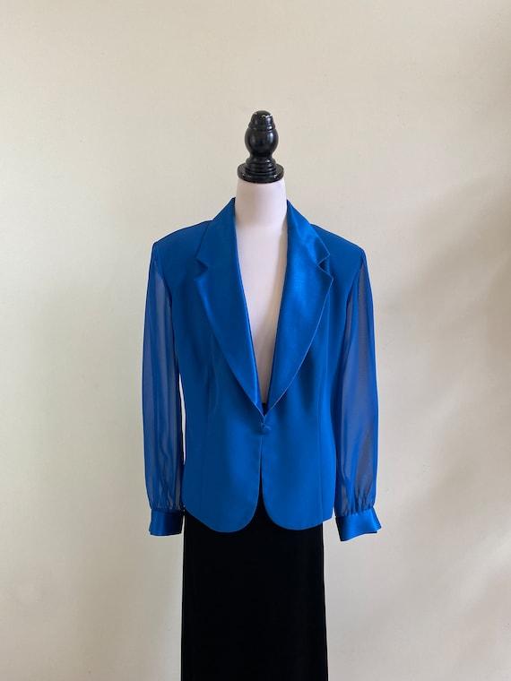 VINTAGE Blue Teal Chiffon Sleeve Satin Collar and