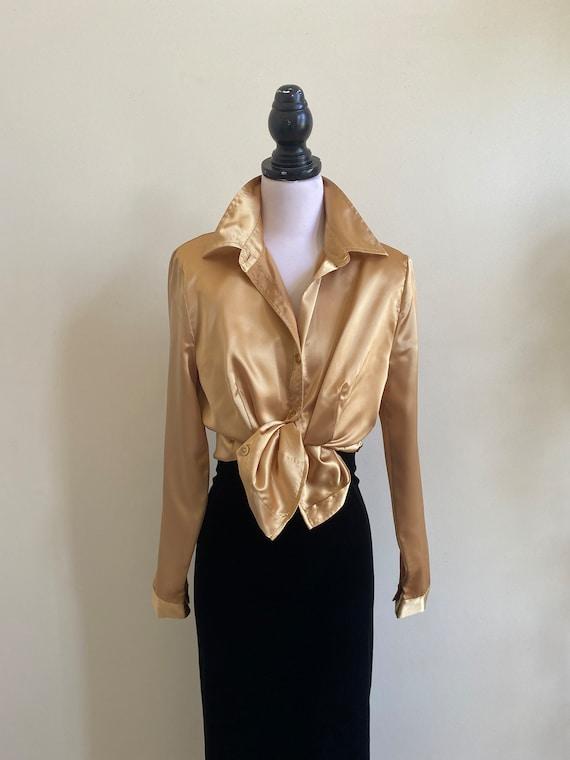VINTAGE Gold Satin Long Sleeve Shirt. 90s Liquid G