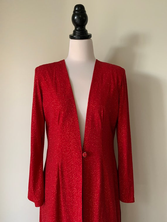 VINTAGE Chanel-Style 90s Red Sparkly Long Jacket - image 2