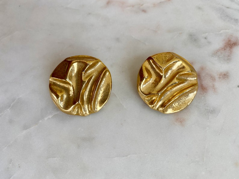 VINTAGE Gold Statement Clip On Earrings 80s Round Moulded Hammered Look Luxury Glamour Designer Style