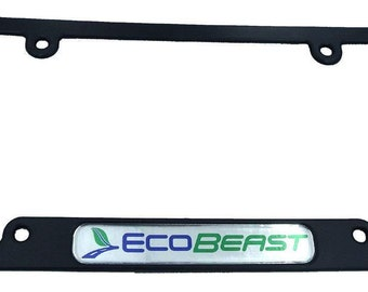 Ecobeast Black On Black Metal Aluminium Car License Plate Frame Holder