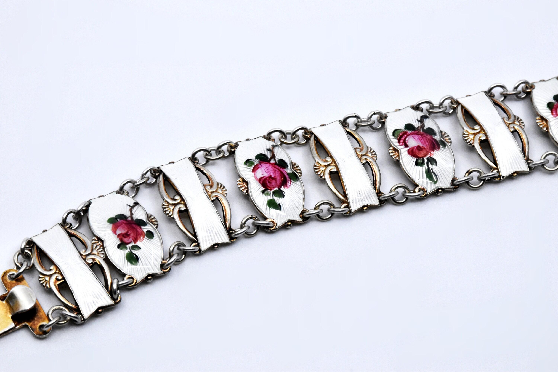 Norwegian sterling silver guilloche enamel leaf motif panel bracelet