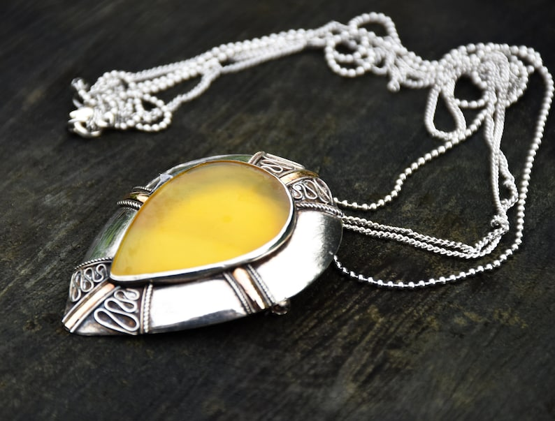Unique Boho Versatility Vintage 1970s Sterling Silver Large Pendant Necklace and Brooch with Yellow Banded Agate Cabochon