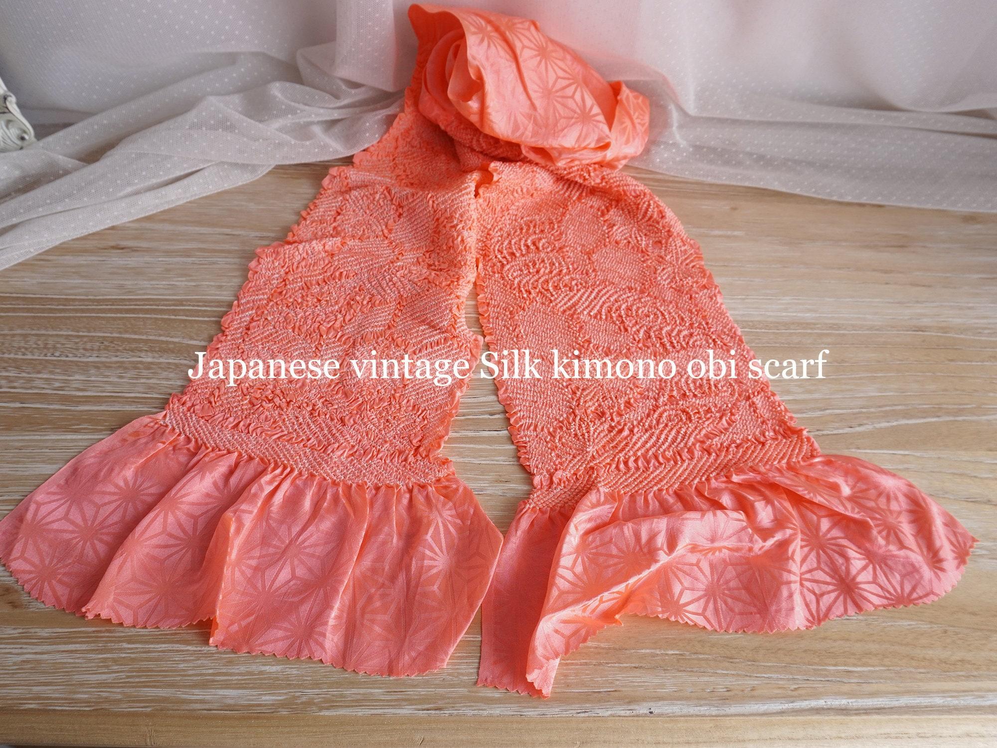 Vintage Scarf Styles -1920s to 1960s Japanese Vintage Silk Kimono Obi Scarf Coral Pink $40.00 AT vintagedancer.com