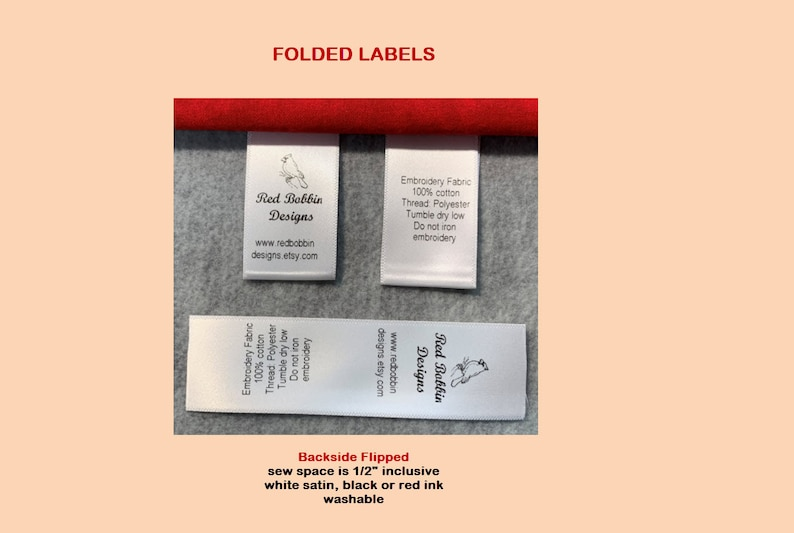 Made in USA Personalized,Clothing Garment Tags Free Shipping Style by TagsAreUs 50 Nylon Custom Labels For Handmade Items PRECUT FOLDED