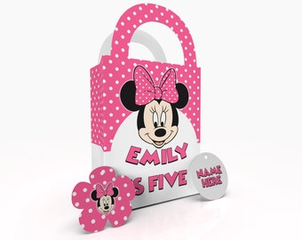 Personalised Pink Minnie Party Gift Bag, Party Bag, Party Treat Bag,  Birthday Party Bag and Party Box Goodie Bags Watercolour Effect