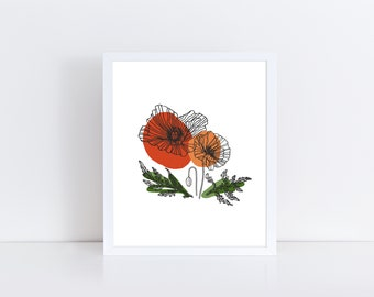 Red Poppies Karin Johannesson Floral Still Life Flower Poppy Print Poster 18x24