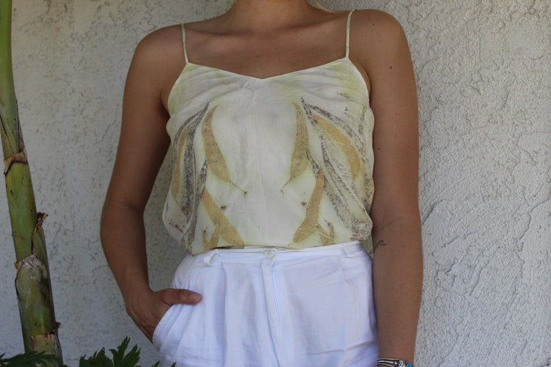 Ecoprinted Silk Camisole  Valentines Day Gift  Dyed with Flowers