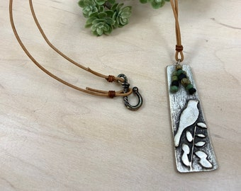 Bohemian Bird Pendant Necklace With Leather Cording Women/'s Necklace