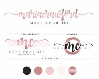 Logo Branding Kit, Makeup Artist Logo Branding Package, Feminine Logo Design, Custom Logo, Modern Logo Set