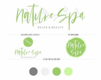 Natural Products Logo, Spa Center, Beauty Center Logo Branding Package, Feminine Logo Design, Custom Logo