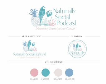 Natural Logo, Social Logo, Enteprenor Artist Logo, Branding Package, Feminine Logo Design, Custom Logo, Modern Logo Set