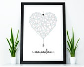 Birth picture birth poster Geometric Heart Heart - Gifts for birth - birth announcement