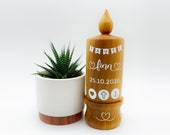 Gift for Baptism - Personalized baptismal candle made of wood - Birth - Baptism gift - godfather