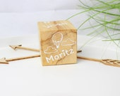 Birth Cube Wooden Cube Gift for Birth