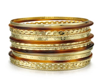 Set of 5 gold and bronze tone small wrist textured stacking bangles hippy chic belly dancer bangles 80s golden bangles
