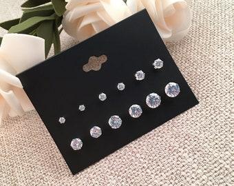 Set Of 6 pair Stainless Steel Stud Earrings Crystal Cubic Zirconia Gemstone Earring set