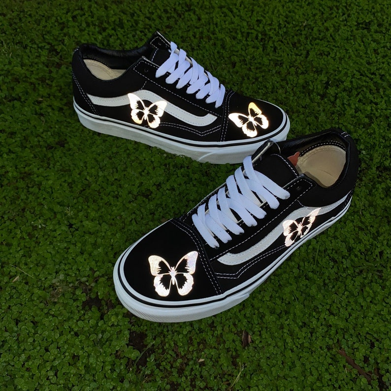 Reflective Monarch Butterfly Vans FAST FREE SHIPPING Old Skool h7xTwwET
