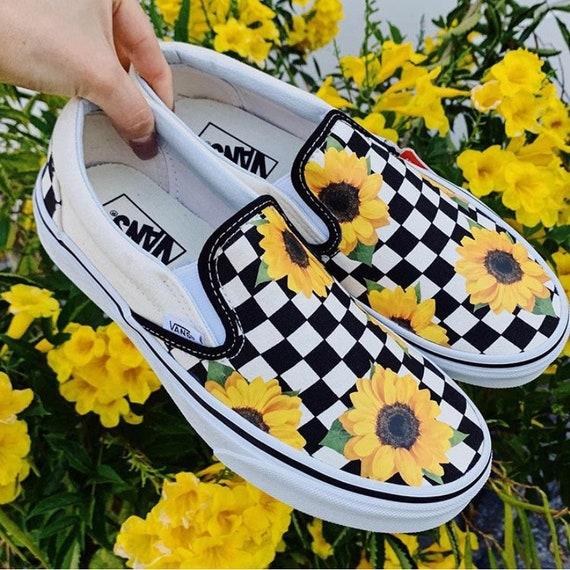 Sunflower Checkerboard Vans FAST FREE