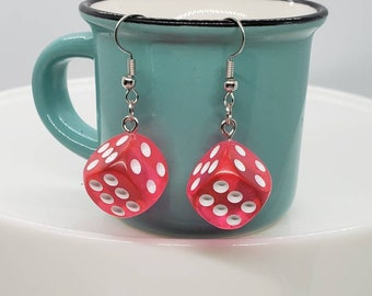 die earrings kitsch multi coloured dice dangle earrings Dice earrings