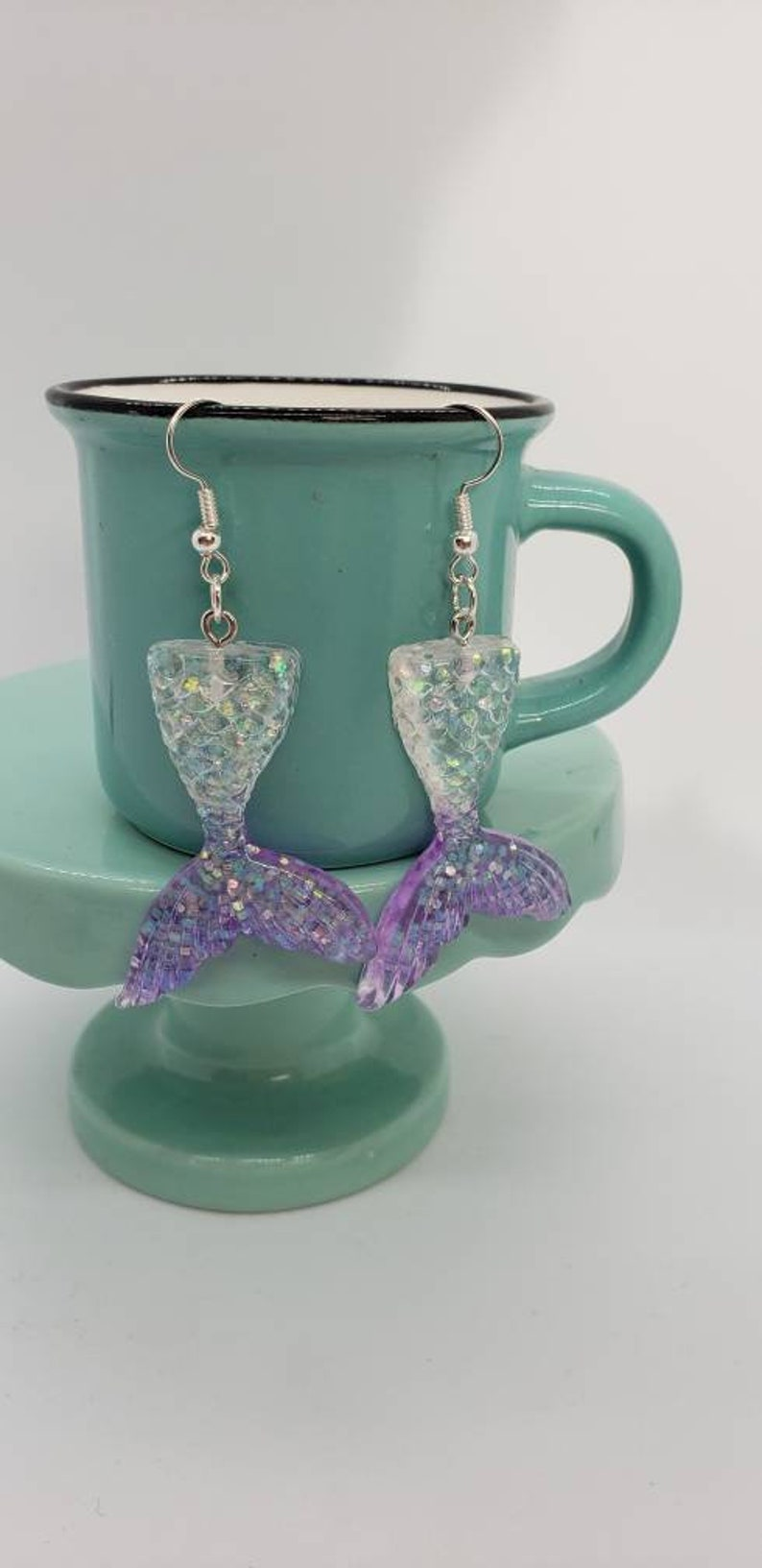 Clear to Purple Glittery Mermaid Tail Dangles
