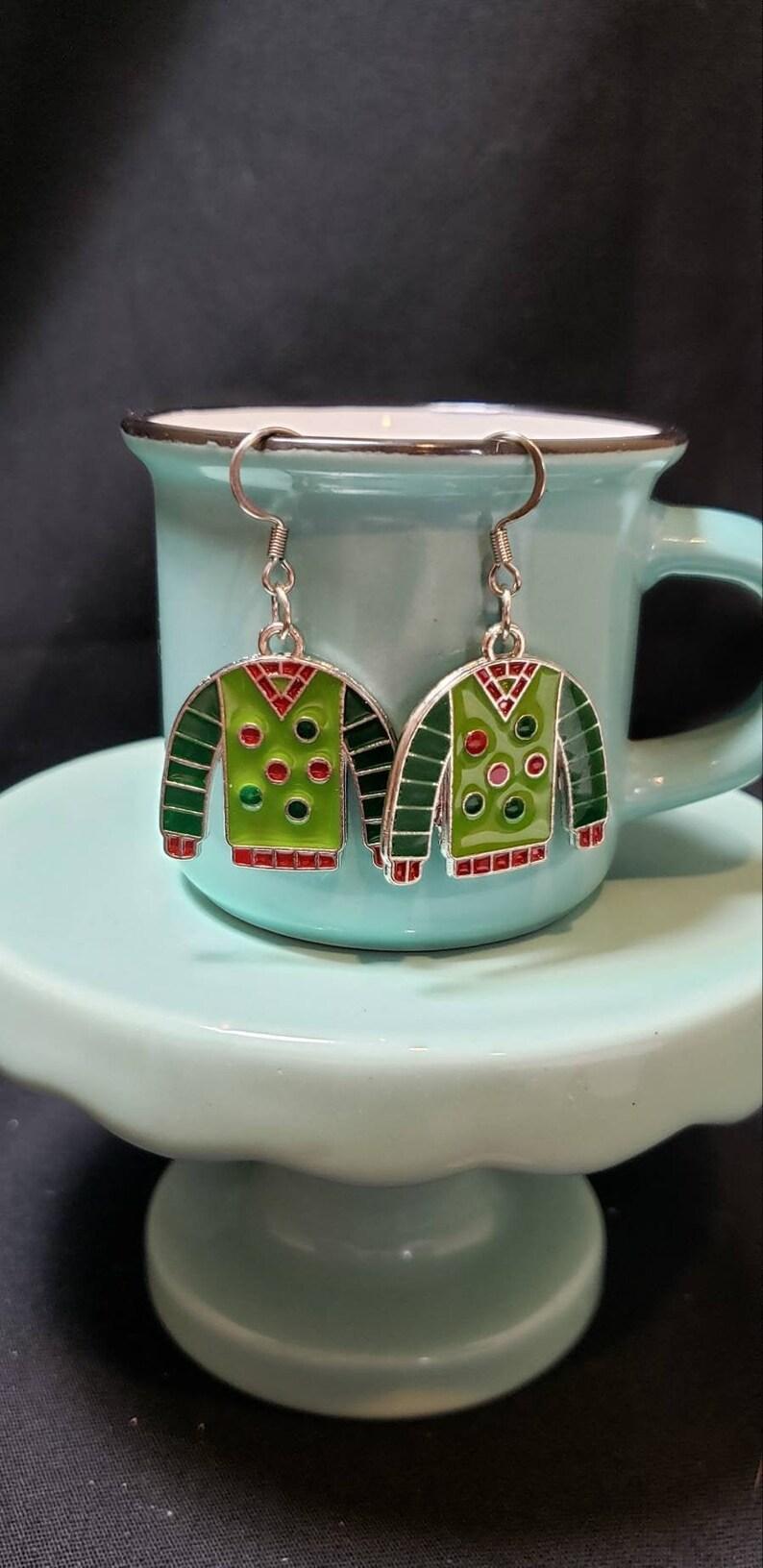 Ugly Christmas Sweater Dangle Earrings Polka Dots