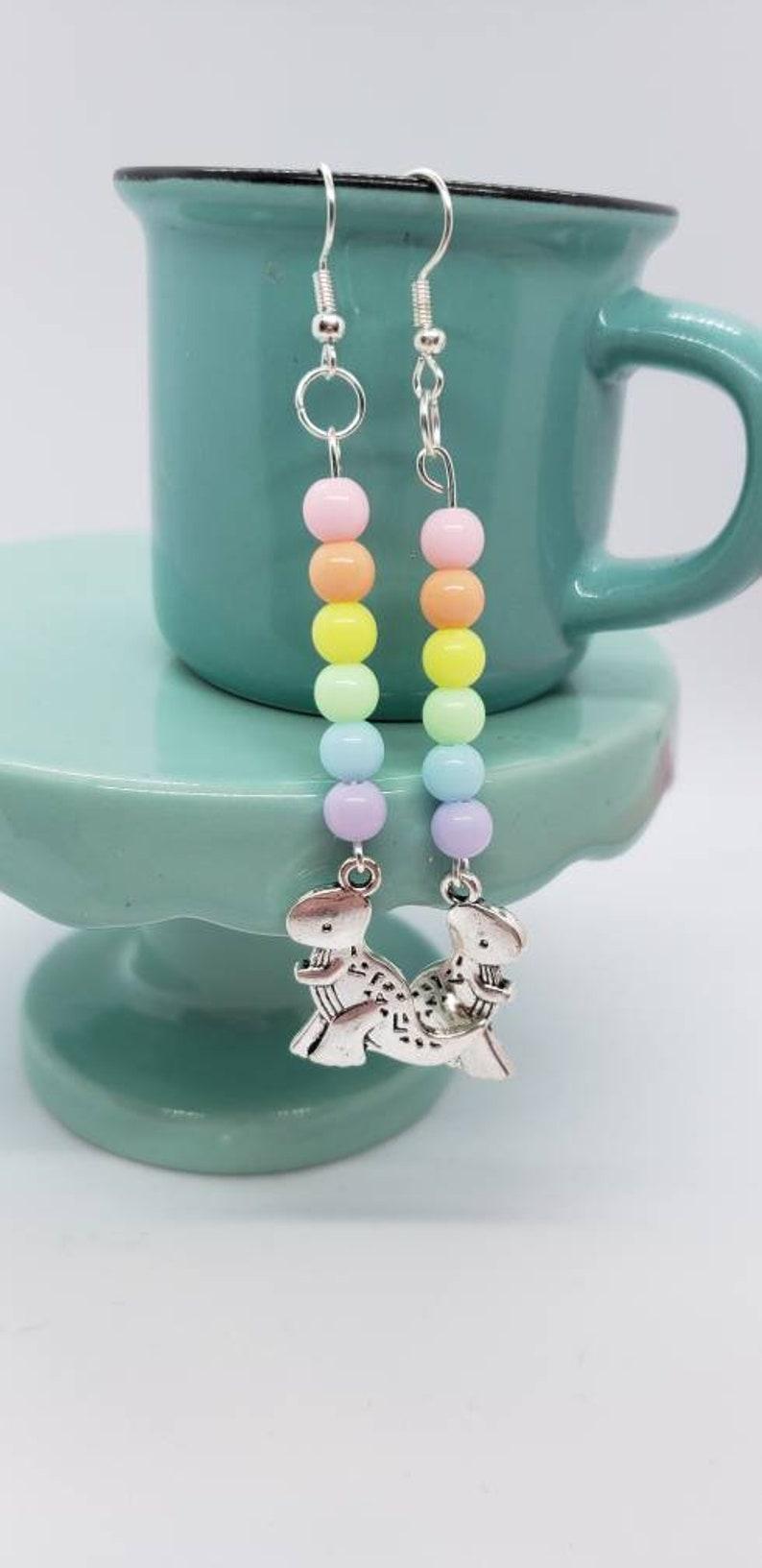 Pastel Rainbow Dinosaur Dangle Earrings